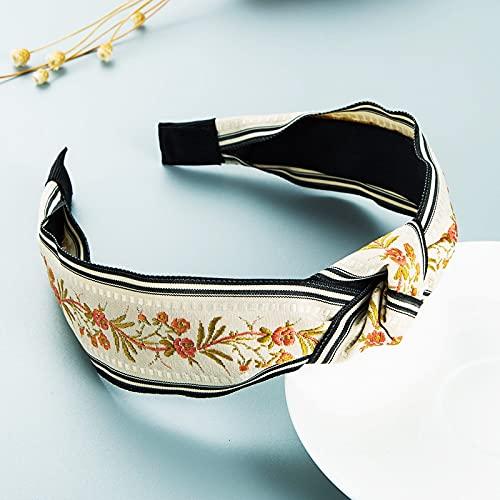 feixi Diademas TemperamentFlower Bowknot diadema para mujer bordado tejido trenzado diadema accesorios para el pelo (color metálico: FG563-B-blanco)
