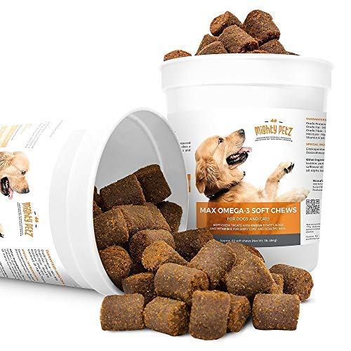 MAX Fish Oil for Dogs – Omega 3 Chews 54,000mg per Jar. Allergy Support + Itchy Skin Relief + Shiny Coat + Natural Hip Joint Supplement. Rich in EPA & DHA + Vitamin E. Tasty Treats for Pets