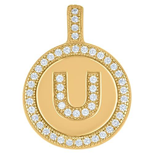 Collar con colgante de plata de ley 925 con circonita cúbica unisex con nombre de letra de monograma personalizable con inicial del alfabeto U disco