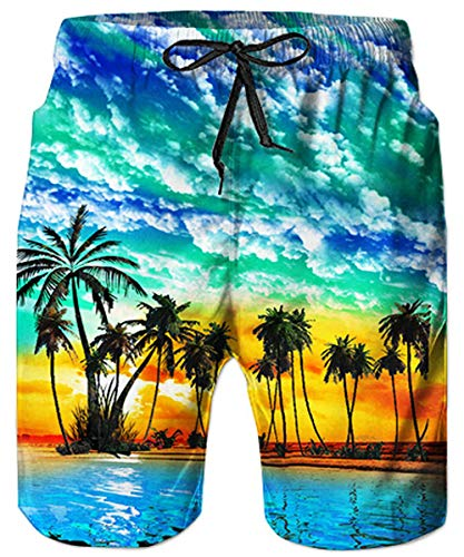 Loveternal Men's Funny Swim Trunks Elastic Waistband Graphic All-Over Printed Beach Short Quick Dry Casual Board Shorts for Boys Mens Tropical Swim Trunks Long Bathing Suits L