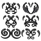 LAURITAMI BIG GAUGES Pair Acrylic 16g Gauge Fake Plugs Marble Spiral Piercing Ear Lobe Tribal Spiral Gauges Ear Tapers Horn Stud Earring Spiral Claw Stretcher Expander Fit