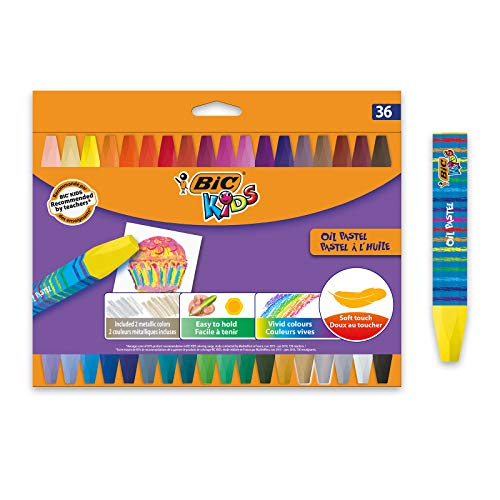 BIC Kids - Blíster de 36 unidades, oil ceras blandas, colores surtidos