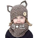 Baby Girls Boys Winter Hat Scarf Earflap Hood Scarves Caps (Brown (2-8 Years Old))