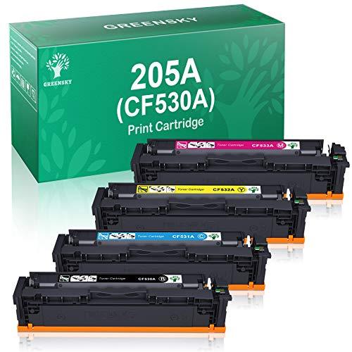 GREENSKY Reemplazo de Cartucho de Tóner Compatible para HP CF530A 205A CF531A CF532A CF533A para HP Color Laserjet Pro MFP M181fw MFP M180n MFP M180nw M154a M154nw (1Negro,1Cian,1Amarillo,1Magenta)
