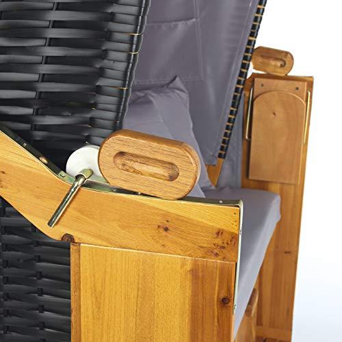 Hoberg 2-Sitzer-Strandkorb (Ostsee), 120x80x160 cm, 5 Liegestufen einstellbar, Rollen mit Feststellbremsen, ausziehbare Fußbänke, 2 Nackenkissen - 9