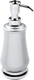 mDesign Modern Metal Refillable Liquid Soap Dispenser Pump Bottle for Bathroom Vanity Countertop, Kitchen Sink - Holds Hand Soap, Dish Soap, Hand Sanitizer, Essential Oils - Pearl Silver/Chrome