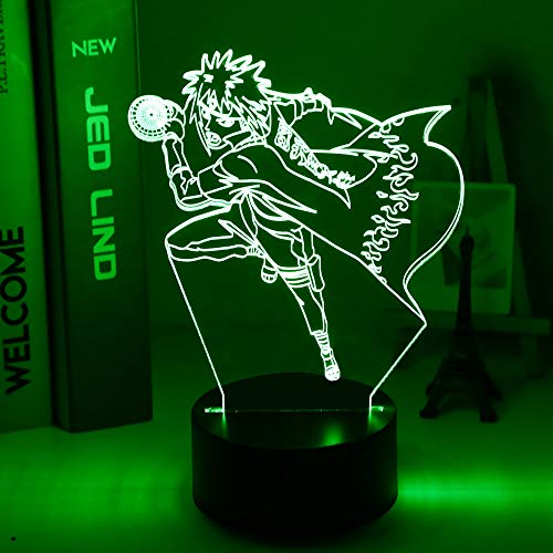 Lámpara japonesa Manga Naruto 3d Minato Namikaze figura atmósfera para niños decoración de habitación infantil cambio de color luz de noche Led junto a la cama