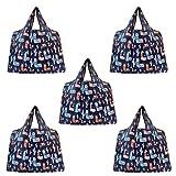 Byqny Pack de 5 bolsas de la compra reutilizables, grandes y estables, plegables, lavables a máquina, portátiles, duraderas, color Multicolor, talla 5 Set