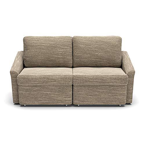 DOMO. collection Relax Dauerschläfer Boxspring Sofa mit Schlaffunktion, 2-Sitzer Schlafsofa Gästebett | 168 x 96 x 86 cm, beige-braun