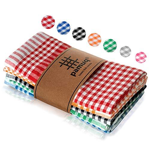 pamuq® strofinacci da cucina cotone 100% | set di 5 | 45 x 65 cm a quadretti | con gancio | colori differenti | canovacci cucina cotone stracci tovaglioli asciugamani asciugapiatti