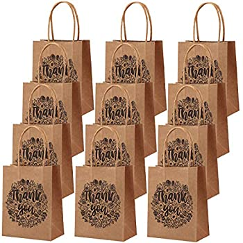 Cooraby 24 Pieces 4.7 x 2.4 x 5.9 Inch Mini Thank You Party Bags Brown Kraft Paper Bags with Handle for Shopping Wedding Goodies Birthday Party Favor