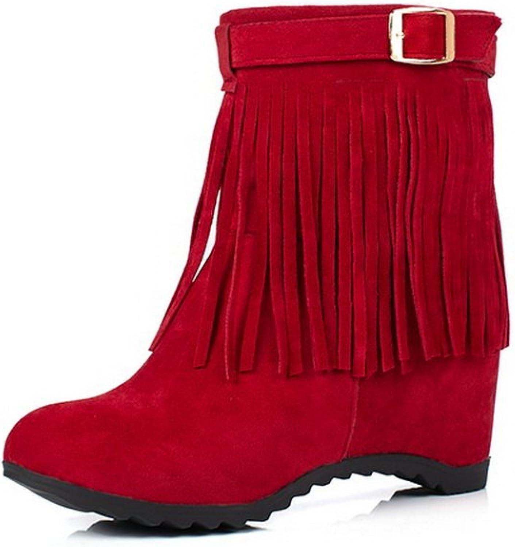 AandN Womens Boots Closed-Toe No-Closure High-Heel Warm Lining Waterproof Track Nubuck Soft-Toe Light-Weight Urethane Boots DKU01868