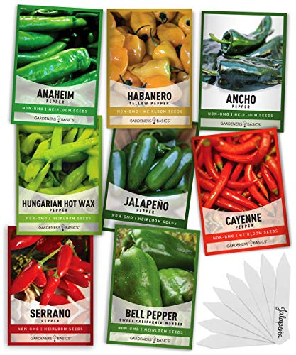 Pepper Seeds for Planting 8 Varieties Pack, Jalapeno, Habanero, Bell Pepper, Cayenne, Hungarian Hot Wax, Anaheim, Serrano, Ancho Seeds for Planting in Garden Non GMO, Heirloom Seeds Gardeners Basics
