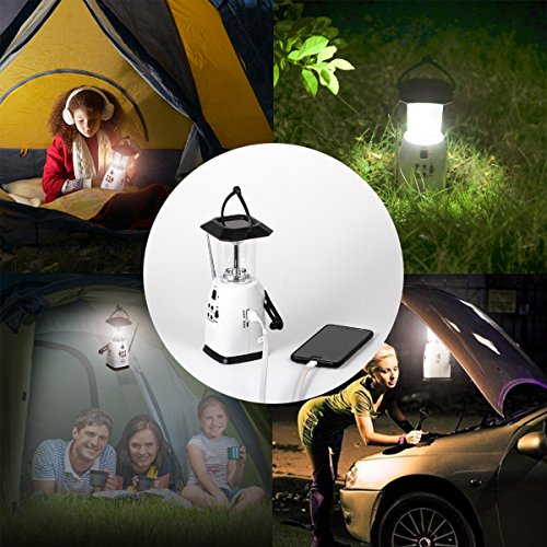 Hoshine Solar Dynamo Multi-Functional 4-Way Powered Emergency Hand Crank FM Radio LED Camping Lantern Flashlight Phones Charger (White)