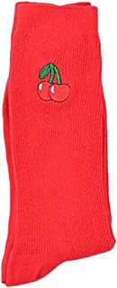 VANKER Women Fruit Embroidered Socks Cotton Breathable Casual Long Socks For Autumn Winter