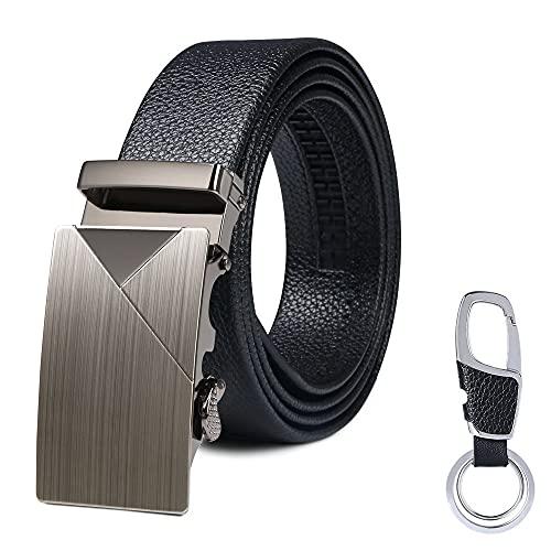 flintronic Herren Gürtel,Hochwertiges Leder material Ratsche Automatik Gürtel für Männer Ledergürtel Breite 3.5cm Länge 135CM-Schwarz (inkl Schlüsselbund & Geschenkbox)