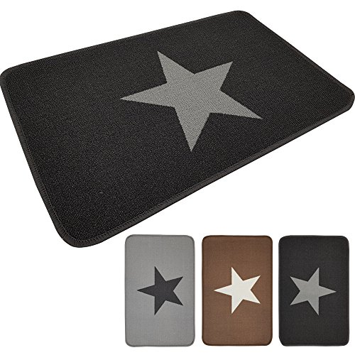 PROHEIM Fußmatte Star 50 x 80 cm Schmutzfangmatte Fußabstreifer Fußabtreter aus Baumwolle und rückseitiger Gummierung, Farbe:Anthrazit