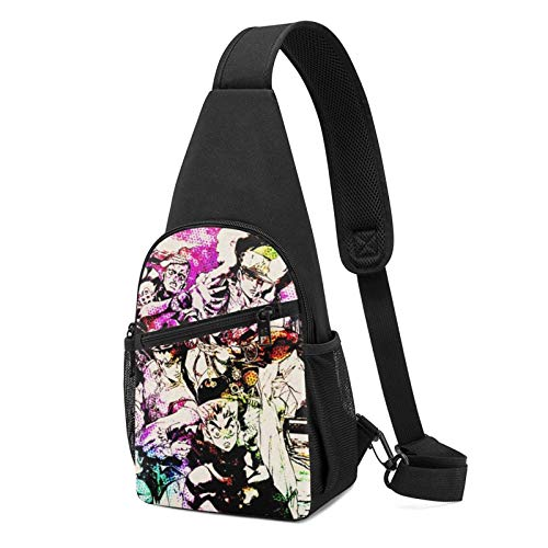 Anime JoJoJo's Bizarre Adventure - Bolsa de hombro cruzada para niños, bolsa de cintura para deportes, viajes, senderismo, casual, cremallera ajustable