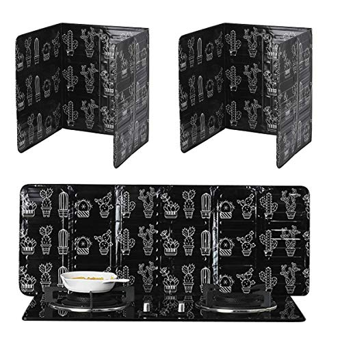 Grease Splatter Guard for Frying Pan, 3 Sided Splatter Guard, Folding Splatter Screen Shield Oil Block Oil Barrier Oil Splatter Guard for Stove Top Camping Windscreen Kitchen Restaurant (2 PCS, Black)