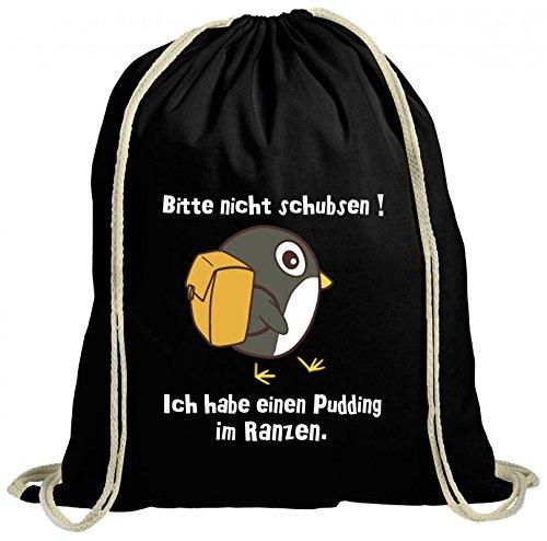 ShirtStreet natur Turnbeutel Rucksack Gymsac Pinguin - Bitte nicht schubsen, Größe: onesize,schwarz