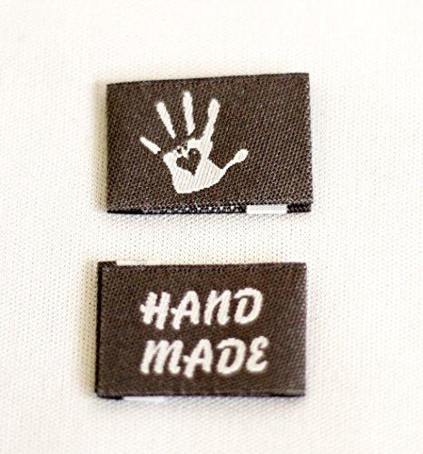 Sylter Nähkultur 10 Handmade with Love Label in grau gefaltete Webetiketten Kleideretiketten Einnähetiketten