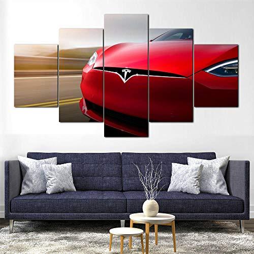 XIAYUU Coche eléctrico Tesla Model S 5 Panel HD Pintura De La Pared La impresión De La Imagen Marco,Decoración De Pared,Decoración Moderna del Ministerio del Interior(150 CM x 80 CM)