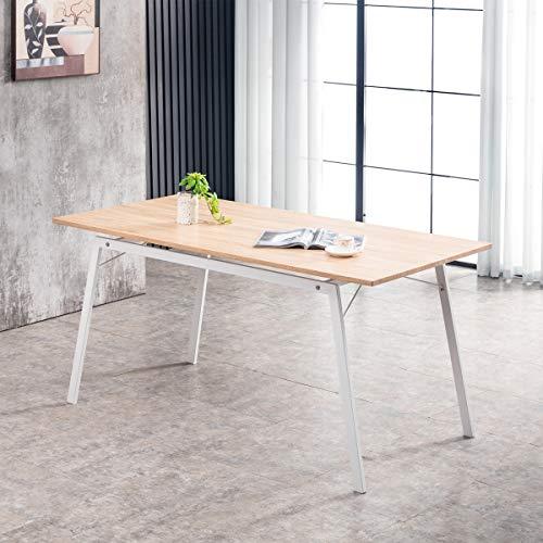 Mc Haus GASHIRA - Mesa Rectangular Comedor de madera Natural con estructura de Metal Blanca mate, Mesa Cocina Salón Diseño Moderno 160x80x75cm