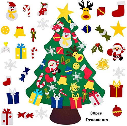 Arbol Navidad Fieltro,El árbol de Navidad del Fieltro de los DIY fijó los 30pcs Ornamentos Desmontables, Regalos Colgantes de Navidad de la Pared de la Puerta para Las Decoraciones de la Navidad