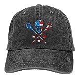 Dyfcnaiehrgrf Bandera americana hecha con palos de hockey gorras de béisbol unisex suave Casquette Cap moda sombrero ajustable vintage negro