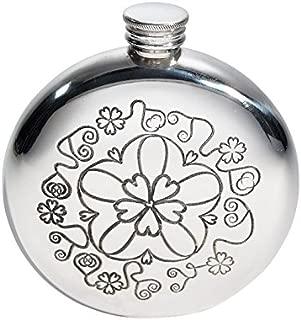 Wentworth Pewter - Yorkshire Rose Round Pewter Flask, Spirit Flask, 6oz Capacity