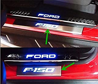 Niceautoitem 4pcs Silver Titanium Stainless Steel LED Light 4 Door Scuff Plate Door Sill Entry Guard for Ford F-150 2009 UP