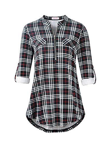 BELAROI Damen Oberteile Karierte Bluse Tunika Sommer V-Ausschnitt Kurzarm/Langarm Reißverschluss Langshirt Hemd T-Shirt Tops