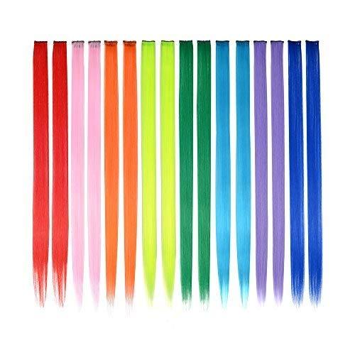 FESHFEN Farbige Haarverlängerung, 16 PCS 8 Farben Haarteil für Mädchen Princess Party Highlight Bunte glatte Haarverlängerungen Clip in Kostümen Haarteil für Mädchen, 50cm