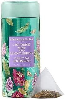 Fortnum and Mason British Tea. Liquorice, Mint and Lemon Verbena Infusion Tin, 15 Count Silky Tea Bags (1 Pack) Usa Stock