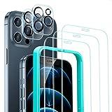 ESR 5 Pack Protector de Pantalla Compatible con iPhone 12 Pro 6.1 Pulgada,Contiene 3 Pack Cristal Vidrio Templado y 2 Pack Protector de Lente de cámara, Doble Protección,Marco de Posicionamiento