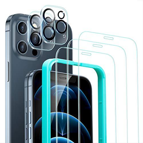 ESR Screen and Lens Protector Set Compatible with iPhone 12 Pro with 3 Screen Protectors and 2 Lens Protectors Scratch Resistant Glass