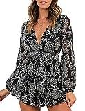 Relipop Women's Jumpsuit Floral Print V Neck Baggy Sleeve Waist Tie Double Layer Ruffle Hem Short Mini Dress Romper Black
