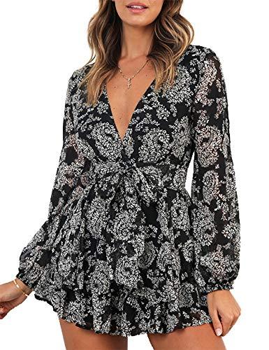 Relipop Women's Jumpsuit Floral Print V Neck Baggy Sleeve Waist Tie Double Layer Ruffle Hem Short Mini Dress Romper