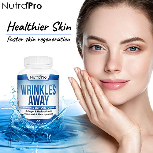 51ydgHKhNHL - Skin Vitamins To Reduce Wrinkles and Fine Lines. The Only Skin Supplement With Collagen, Resveratrol and Hyaluronic Acid Together To Renew Skin by NutraPro. | Launch Special Price |