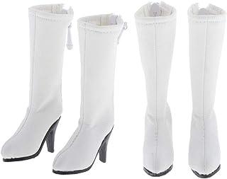 koolsoo 2 Pair of Dolls Boot Shoes for 1/6 Blythe Licca/Momoko/Azone Dress White