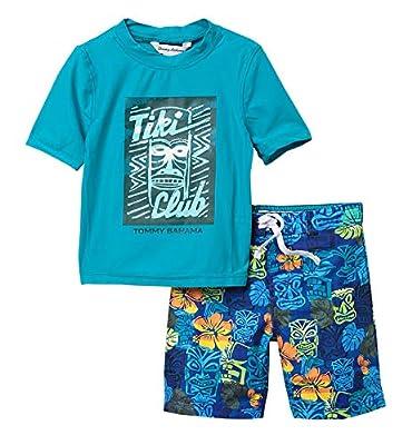 Tommy Bahama Boys' Rashguard and Trunks Swimsuit Set (5, Tiki Turquoise)