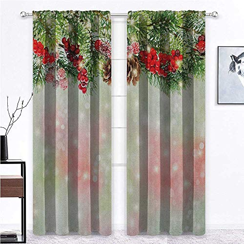 shirlyhome Christmas Window Curtain Evergreen Fir Branches with Red Ripe Holly Berries Blurred Backdrop Garland – Easy Installation Red Green Brown - 60' x 84', 2 Rod Pocket Panels