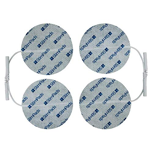StimPads, rund 70mm, 4-er Pack leistungsstarke, langlebige TENS - EMS Elektroden mit 2mm Universal-Stecker-Anschluss