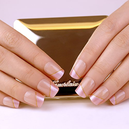 ArtPlus Faux Ongles 24pcs x 4 (4-Pack) Strip of Gold Elegant Touch French Manicure False Nails with Glue Full Cover Medium Length 4 Boxes in 1 Premium Pack Buy 3 Get 1 Free Fake Nails Art