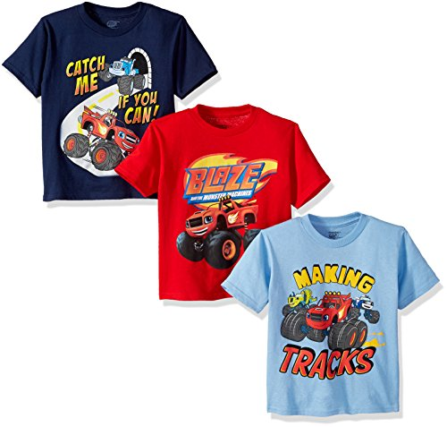 Nickelodeon Little Boys' Toddler Blaze and Monster Machines 3 Pack T-Shirt Bundle, Red/Royal/Sky Blue, 2T