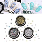 PandaHall 3 cajas de copo de nieve de lentejuelas de uñas de colores mezclados copos de uñas holográficas para diseño de uñas maquillaje DIY manualidades decoración