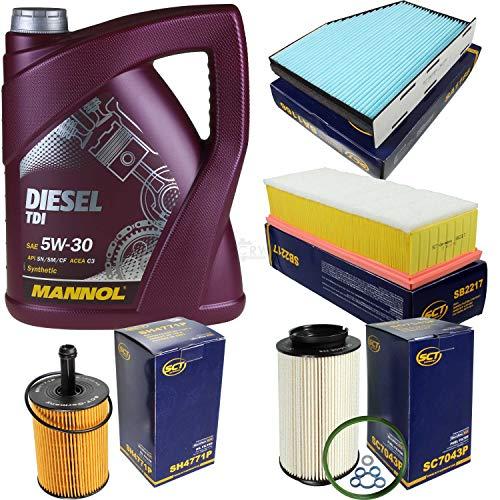Filter Set Inspektionspaket 5 Liter MANNOL Motoröl Diesel TDI 5W-30 API SN/CF SCT Germany Innenraumfilter Luftfilter Ölfilter Kraftstofffilter