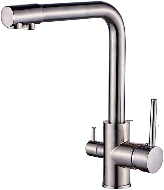 SEEKSUNG Kitchen Tap,Heies und kaltes Wasser 2 Griff Schwenkauslauf Wasserfilter Nickel gebürstet Spülbecken Wasserhhne Mixer Wasserhahn, für Küche Waschbecken