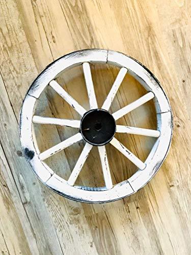 Shabby chic Wagenrad aus Holz, weiß, Einzelstück
