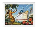 Tours d'Aloha S.S. City of Honolulu Los Ángeles Steamship Company – Póster de paquetes de Kerne Erickson – Primer Unryu de papel de arroz, impresión artística 43 x 56 cm